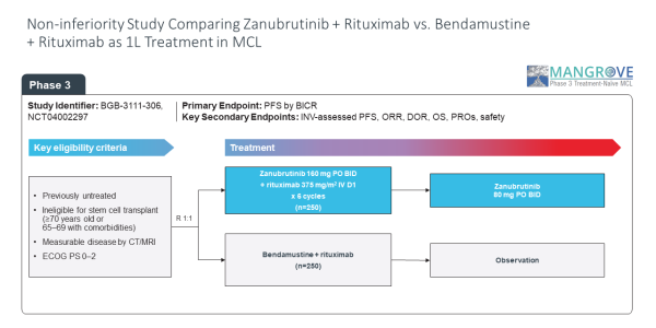 Non-inferiority study comparing Zanubrutinib vs. Bendamustine