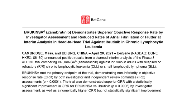 BRUKINSA® (Zanubrutinib) Demonstrates Superior Objective Response Rate by Investigator Assessment and Reduced Rates of Atrial Fibrillation or Flutter at Interim Analysis in Head-to-Head Trial Against Ibrutinib in Chronic Lymphocytic Leukemia