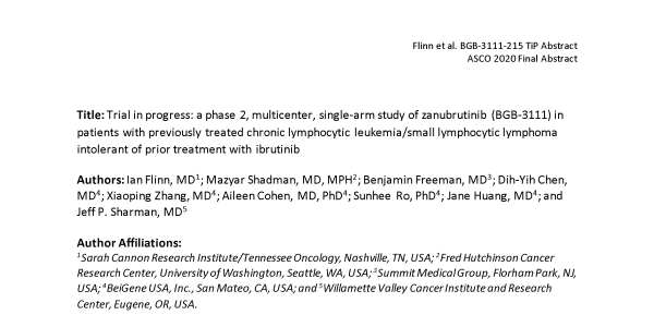 Trial in progress: a phase 2, multicenter, single-arm study of zanubrutinib (BGB-3111) in patients with previously treated chronic lymphocytic leukemia/small lymphocytic lymphoma intolerant of prior treatment with ibrutinib