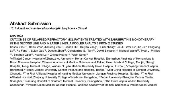 Relapsed/refractory MCL patients treated with Zanubrutinib