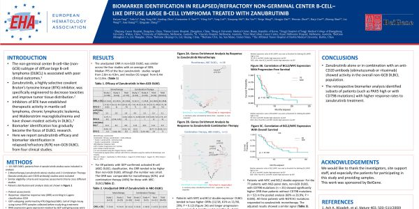 Biomarker identification in relapsed/refractory non-germinal center B-cell-like diffuse large B-cell lymphoma treated with Zanubrutinib