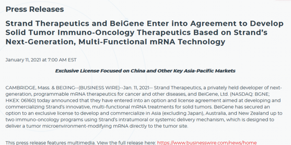 Strand Therapeutics and BeiGene enter into agreement to develop solid tumor immuno-oncology therapeutics based on Strand's next-generation, multi-functional mRNA technology