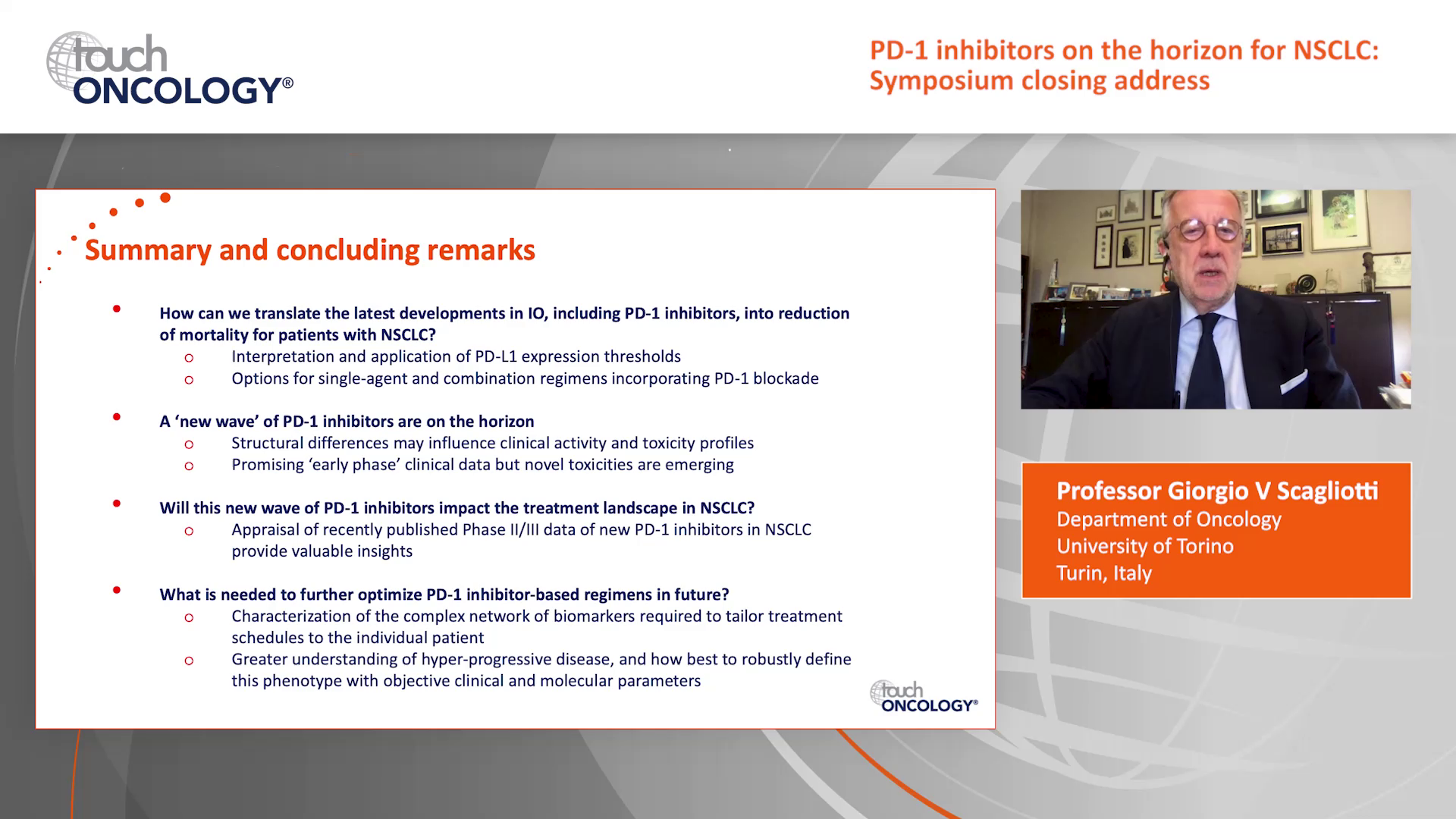 PD-1 inhibitors on the horizon for NSCLC: Symposium closing address