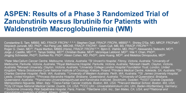 ASPEN: Results of a Phase 3 Randomized Trial of Zanubrutinib versus Ibrutinib for Patients with Waldenström Macroglobulinemia (ASCO)